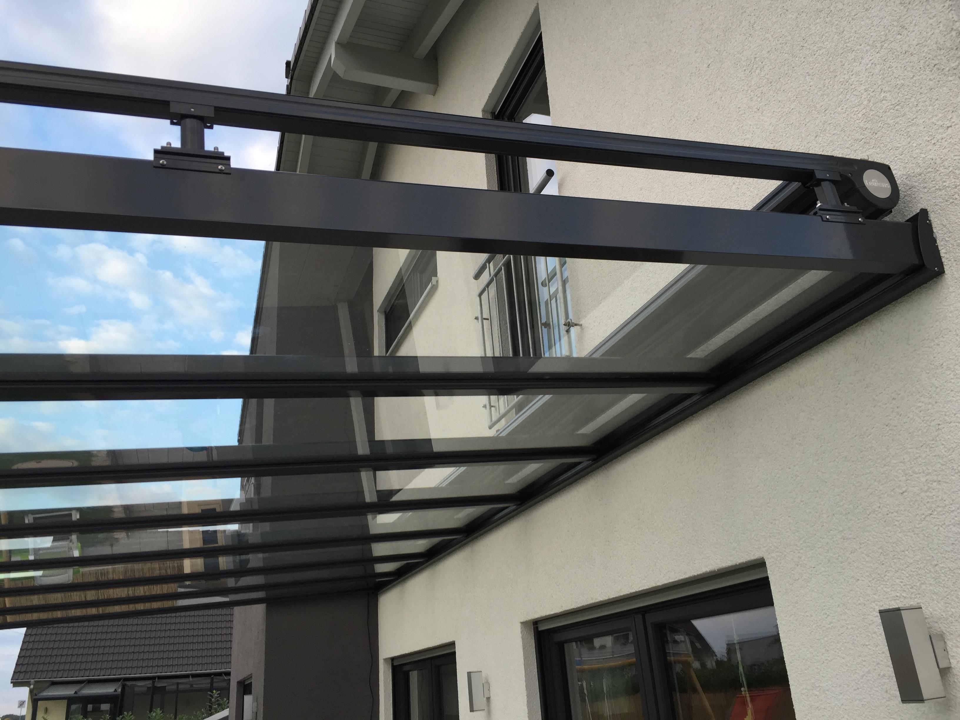glasw nde 8er fl gel terrassen berdachung mit laufschiene ebay. Black Bedroom Furniture Sets. Home Design Ideas
